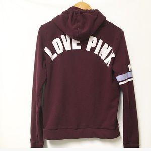 PINK VS Quarter zip pullover hoodie maroon LARGE